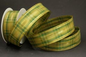 Intermezzo grün gold mit Drahtkante 40 mm 20 m