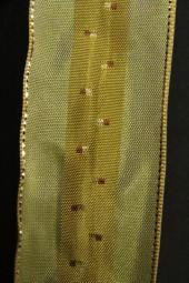 Mandarin grün gold mit Drahtkante 40 mm 20 m