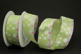 Betsy hellgrün weiss Blumenmotiv pink mit Drahtkante 40 mm 20 m