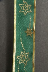 Star dunkelgrün Sterne gold 25 mm 25 m
