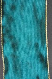 Kirgistan türkisblau mit Goldrand Drahtkante 60 mm 25 m