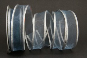 Lugano blau mit Silberrand 25 mm 15 m