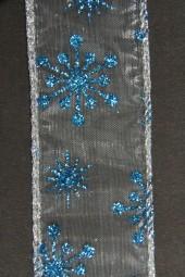 Nicaragua blau silbermit Drahtkante 40 mm 10 m