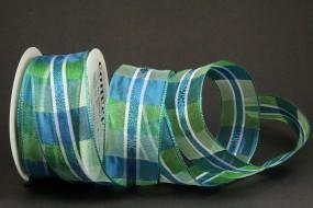 Scala blau grün mit Drahtkante 40 mm 15 m