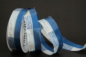 Sandra blau weiss mit Drahtkante 25 mm 15 m