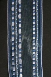 Karina blau weiss mit Drahtkante 40 mm 15 m
