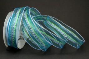 Kaja blau grün mit Drahtkante 25 mm 15 m