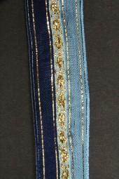 Impalla blau silber mit Drahtkante 25 mm 15 m