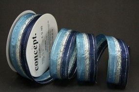 Impalla blau silber mit Drahtknate 40 mm 15 m