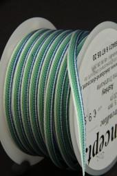Ashley blau grün mit Drahtkante 5 mm 20 m