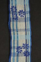 Ravenna weiss blau Blumenmotiv mit Drahtkante 40 mm 20 m