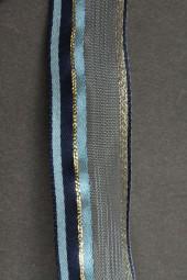 Annette blau gold mit Drahtkante 25 mm 15 m