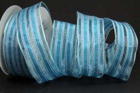 Sima blau weiss mit Drahtkante 40 mm 20 m