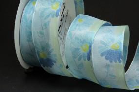 Clementina Blumenmotiv weiss hellblau 40 mm 20 m