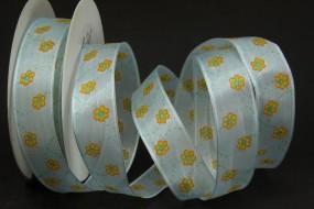 Picco hellblau Blumenmotiv gelb mit Drahtkante 25 mm 20 m