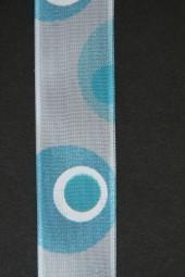 Danielle weiss Kreise hellblau 25 mm 20 m