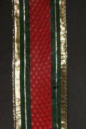 Montreal rot grün mit Goldrand Drahtkante 40 mm 25 m