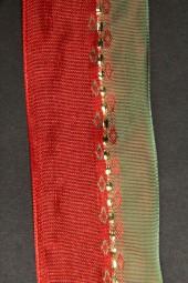 Indien rot grün mit Drahtkante 40 mm 20 m