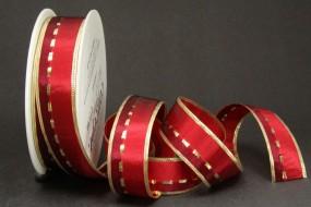 Calypso rot mit Goldrand 25 mm 25 m