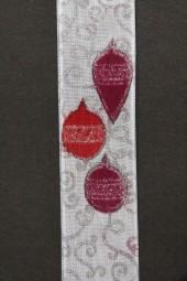 Weihnachtskugel weiss rot mit Silberrand Drahtkante 25 mm 20 m