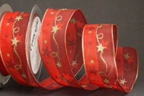 Mozart rot mit Goldrand Motiv Girlande Drahtkante 40 mm 20 m