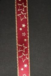 Galaxy burgundy Sterne gold 15 mm 25 m