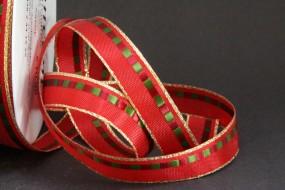 Savoy rot grün mit Goldrand 15 mm 25 m