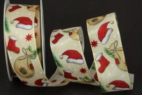 Santa rot grün creme mit Drahtkante 40 mm 20 m