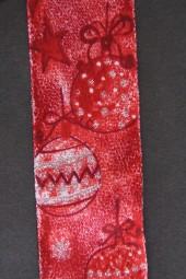 Weihnachtskugel rot mit Drahtkante 40 mm 20 m