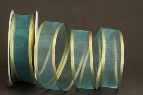 Lugano türkisblau mit Goldrand 25 mm 15 m