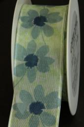 Marika blau grün Blumenmotiv mit Drahtkante 40 mm 20 m