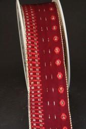 Nancy dunkelrot mit Goldrand Drahtkante 40 mm 20 m