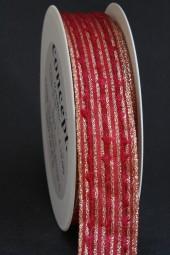 Spirit rot gold mit Drahtkante 25 mm 20 m