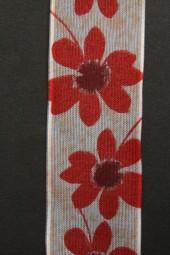 Marika weiss Blumenmotiv rot mit Drahtkante 40 mm 20 m