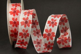 Marika weiss Blumenmotiv mit Drahtkante 25 mm 20 m