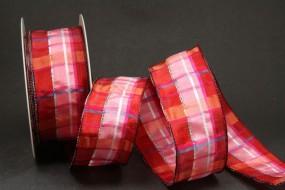 Karo rot pink mit Drahtkante 40 mm 20 m