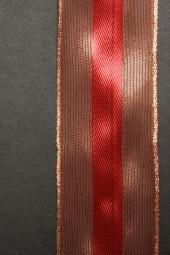 Spyk rot gold mit Drahtkante 25 mm 20 m