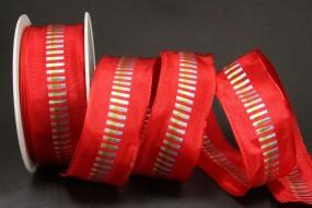 Indra rot Mittelstreifen vielfarbig mit Drahtkante 40 mm 20 m