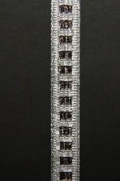 Diamonds silber braun mit Drahtkante 15 mm 25 m