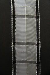 Steel grey grau silber mit Drahtkante 40 mm 20 m