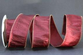 Stepp burgundy mit Drahtkante 50 mm 10 m