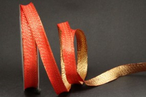 Mondsee rot gold mit Drahtkante 15 mm 25 m