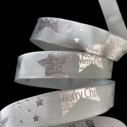 Star Merry Christmas grau Textmotiv Merry Christmas silber mit Drahtkante 25 mm 25 m