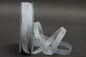 Organza grau 10 mm 50 m mit Webkante