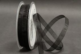 Organza schwarz 10 mm 50 m mit Webkante