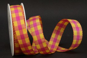 Chester Karo pink gelb 25 mm 25 m
