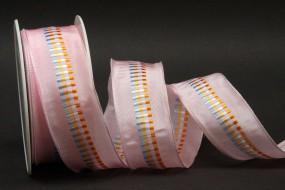 Indra rosa Mittelstreifen vielfarbig mit Drahtkante 40 mm 20 m