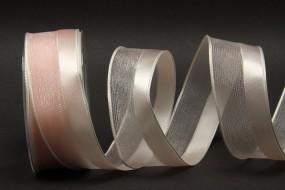 Silk rosa mit Drahtkante 40 mm 25 m